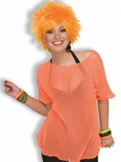 Neon Orange Mesh Shirt - 80's Costumes
